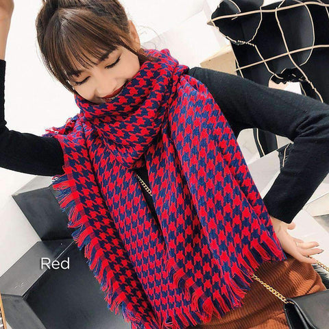 Classic Long Check Scarf With Frayed Edges For Men And Women, Unisex Faux Cashmere Plaid Muffler gallery 6