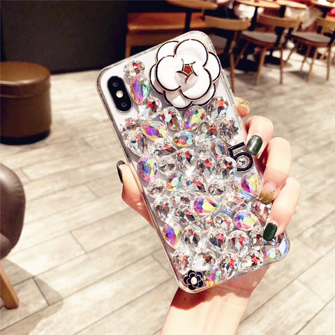 Camellia Full Rhinestone Cover Phone Case for Samsung gallery 7