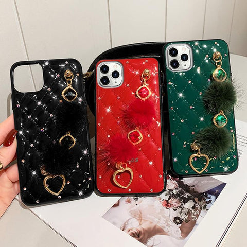 PU Leather Rhinestone Deco Phone Case for Samsung with Wrist Strap gallery 3