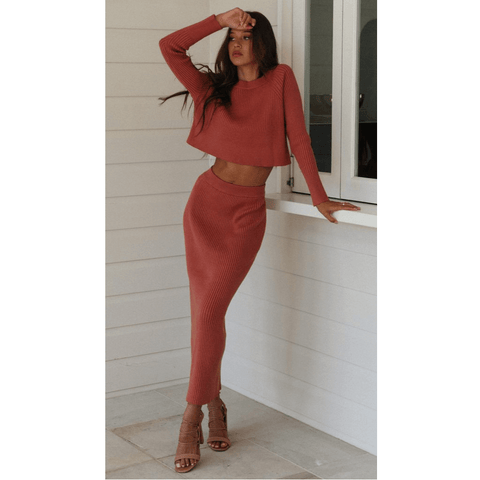 Round Neck Ribbed Split Back Hem Knitted Top & Skirt Set