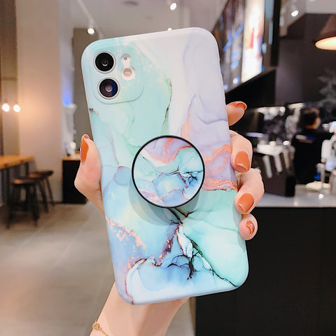 Cosmic Swirl Marble Print iPhone Case with Phone Holder