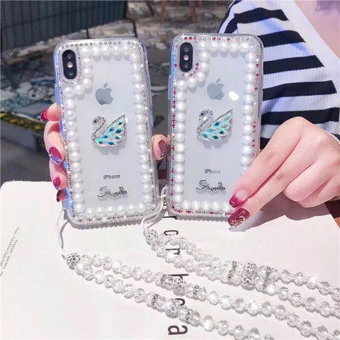 Clear Transparent Pearl Trim Deco Phone Case for Samsung with Hand Strap gallery 5