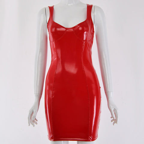 Sexy U-neck Red PU Leather Bodycon Mini Dress gallery 12