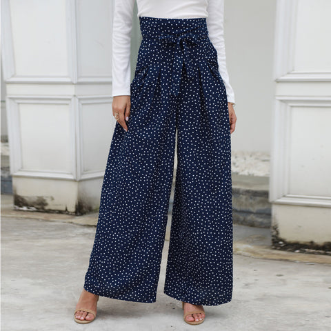 Polka Dot High Waist Belted Wide Leg Pants