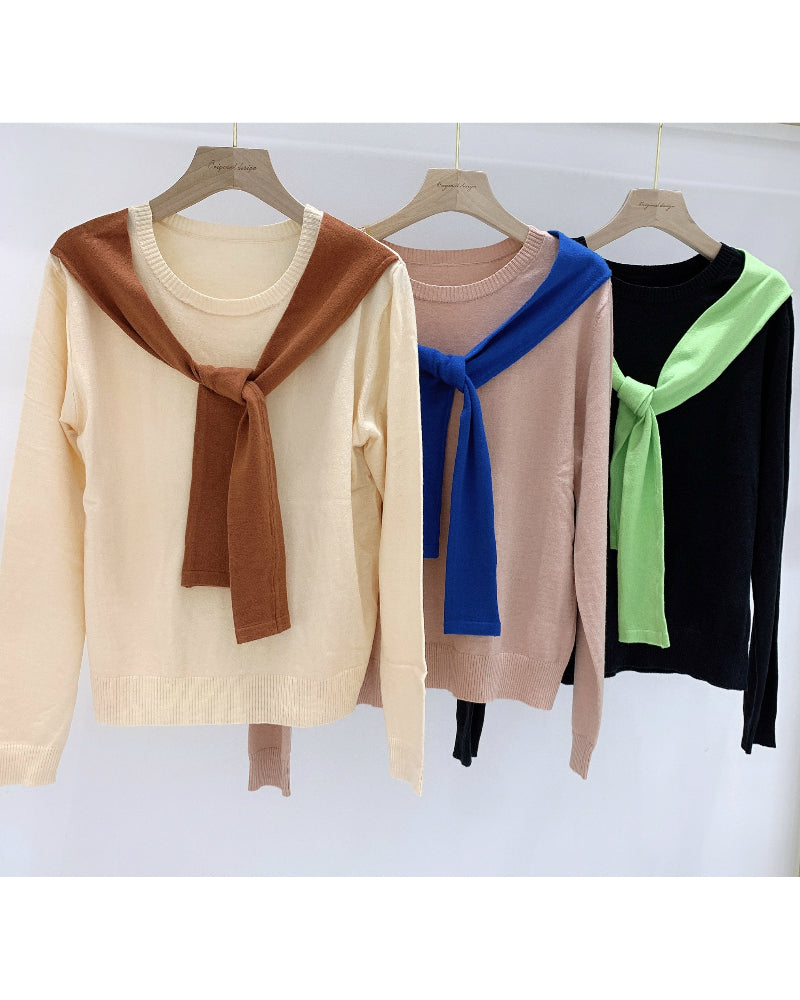 Cape Patched Color Block Anti-Pilling Sweater