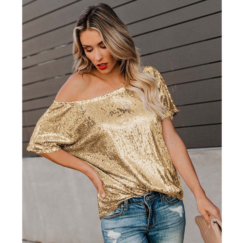 Metallic Sequin Detail One Shoulder T-Shirt