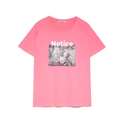 Pink Short Sleeve Print Fitted Tee gallery 5