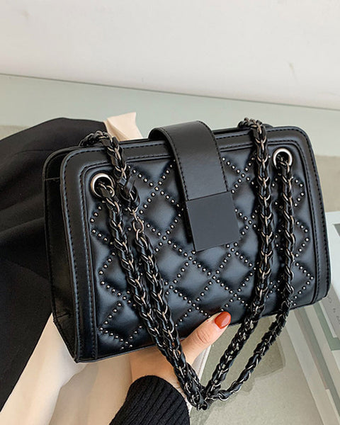 Beaded Detail Quilted Chain Shoulder Bag