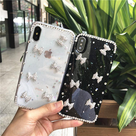 Little Bowknot Rhinestone Clear Transparent Phone Case for Samsung gallery 8