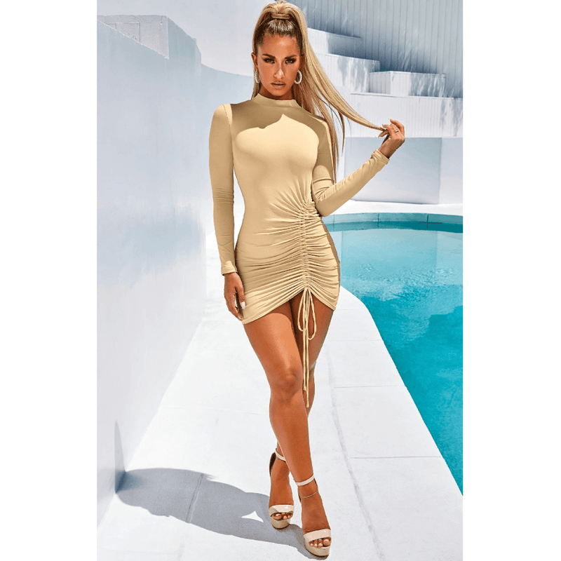 Cozy High Neck Drawstring Detail Ruched Slinky Dress