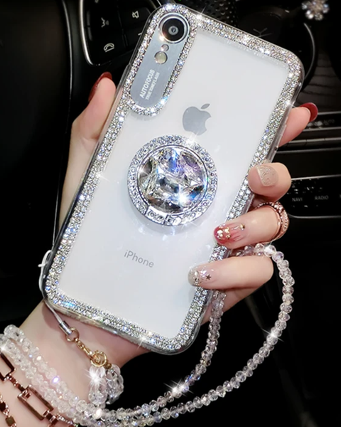 Luxury Crystal Stud Edge iPhone Case with Phone Holder and Hand Strap gallery 1