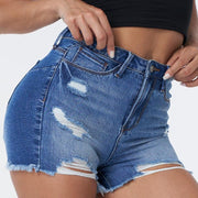 Front Ripped Frayed Hem Booty Shaping Shorts