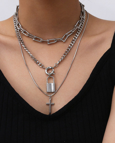 Lock & Letter Layered Chain Necklace gallery 2