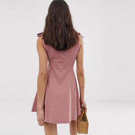 Slimming Bow Tie Button Sleeveless Sling Dress gallery 2