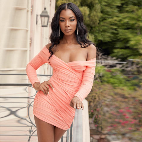 Coral Off Shoulder Mesh Wrap Ruched Mini Dress