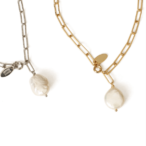 Baroque Pearl Coin Link Pendent Necklace