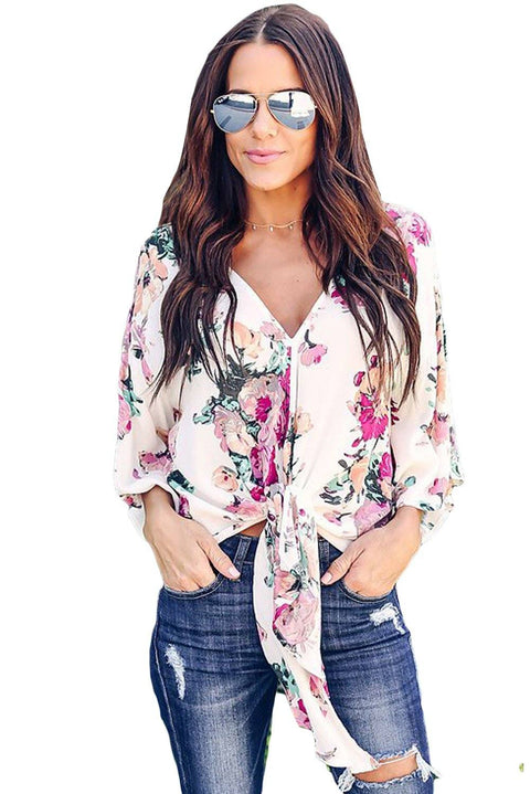 Floral Print Tie Front Kimono Sleeve Blouse gallery 1