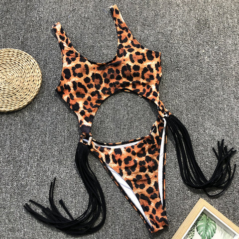 Leopard Cut-Out Ring Linked Fringe Monokini gallery 28