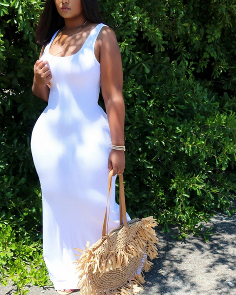 Solid Color Sleeveless Maxi Dress gallery 2