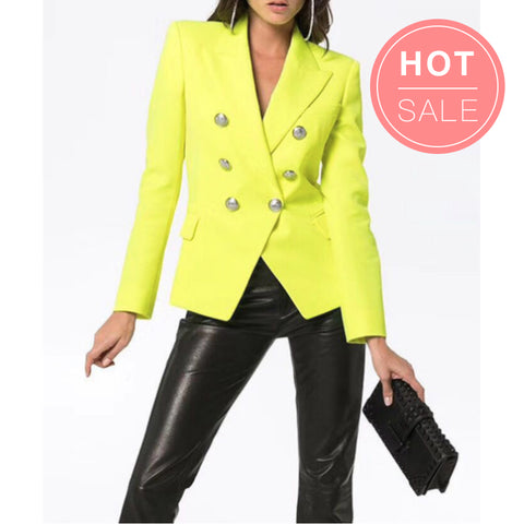 Neon Colors Double Breasted Blazer