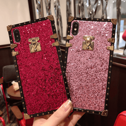 Sparkle Sequins Detail Square Phone Case for Samsung