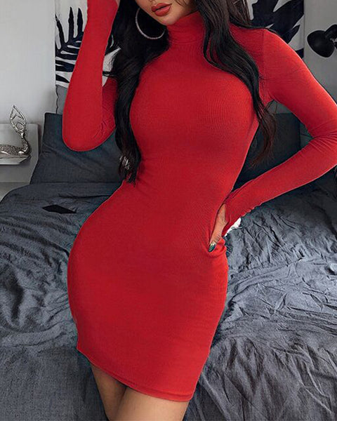 Jersey High Neck Long Sleeve Thumb Hole Mini Dress