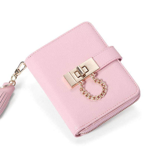 Cow Leather Cute Pink All-Match Short Sized Wallet With Chain And Tassel Element gallery 5