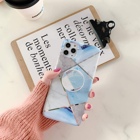 Stitching Plaid Marble Phone Case for Samsung with Phone Holder gallery 5