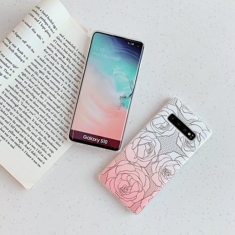 Floral Pattern Marble Phone Case for Samsung gallery 6
