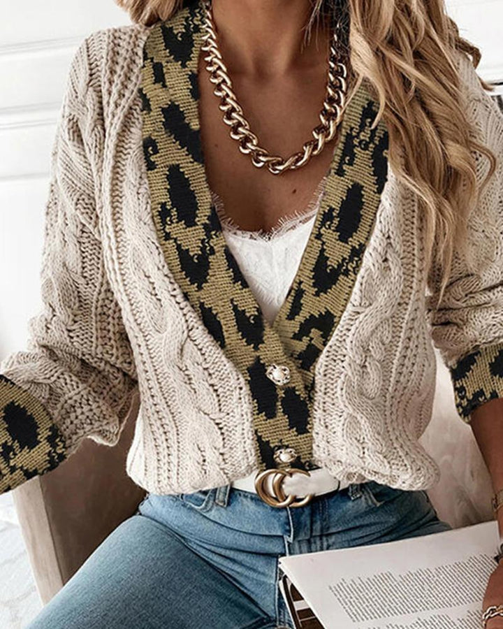 Leopard Print Cable Knit Drop Shoulder Sweater gallery 1