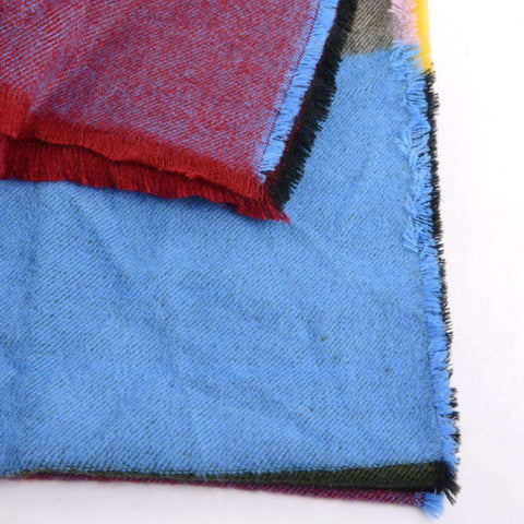 Multicolored Oversized Patchwork Scarf With Frayed Edges, Multifuntional Fashionable Winter Check Muffle gallery 6