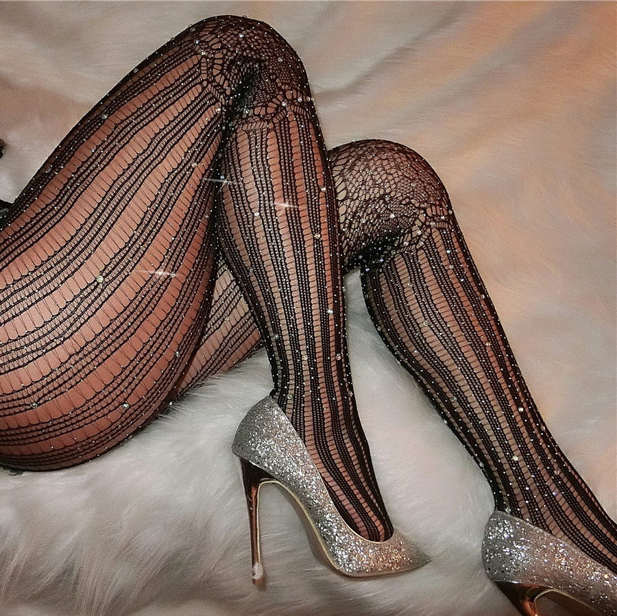 Sexy Diamante High Waist Stripe Hollowed Out Slim Fishnet Tights Clubwear