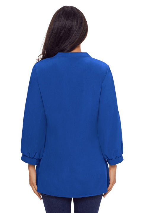 Blue Lace and Pleated Detail Button up Blouse gallery 2