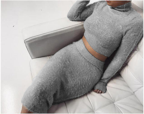 Solid Fluffy Knit Crop Sweater & Skirt Set gallery 6