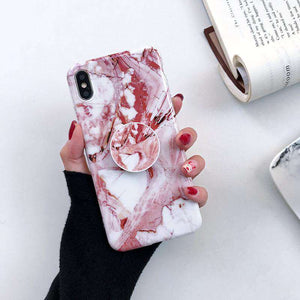 Marble Veins Iphone Case With Phone Holder