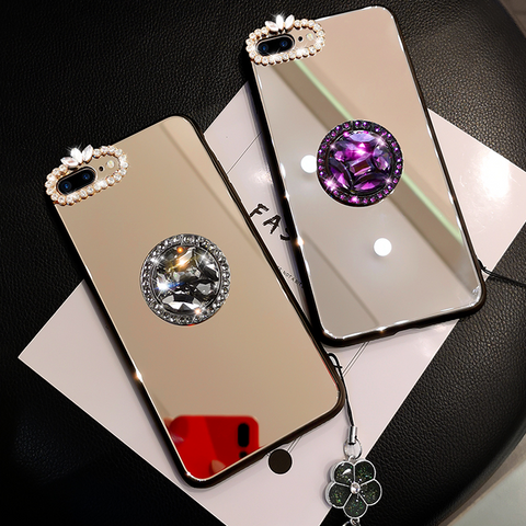 Mirror Rhinestone Side Phone Case for Samsung with Phone Holder gallery 2