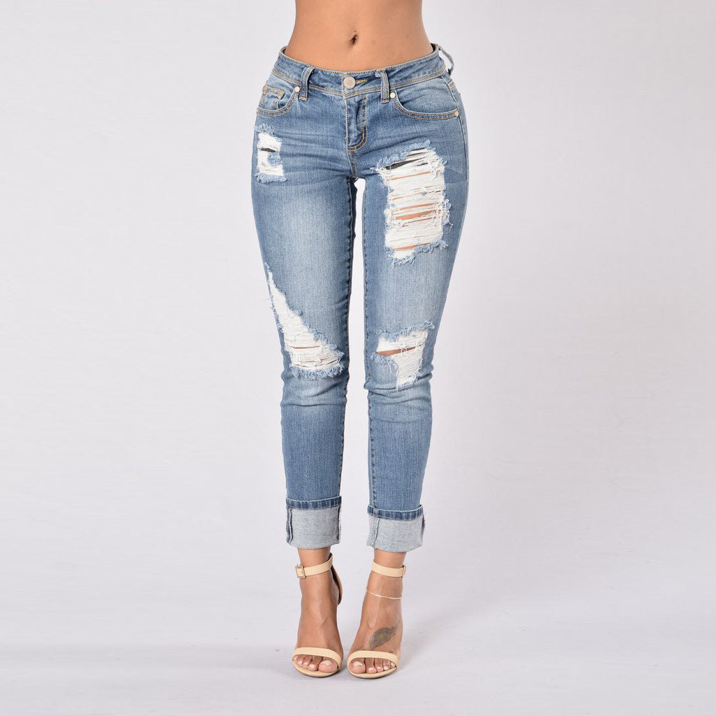 High Waisted Fold Hem Cropped Glistening Jeans