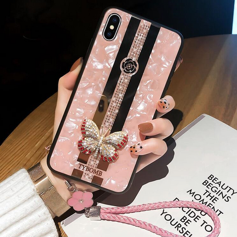 Butterfly Rhinestone Mirror Phone Case for Samsung with Hand Strap gallery 3