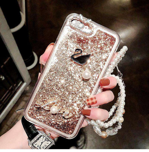 Luxury Crystal Rhinestone Liquid Bling Glitter Swan Pattern Silicone iPhone Case with Hand Strap