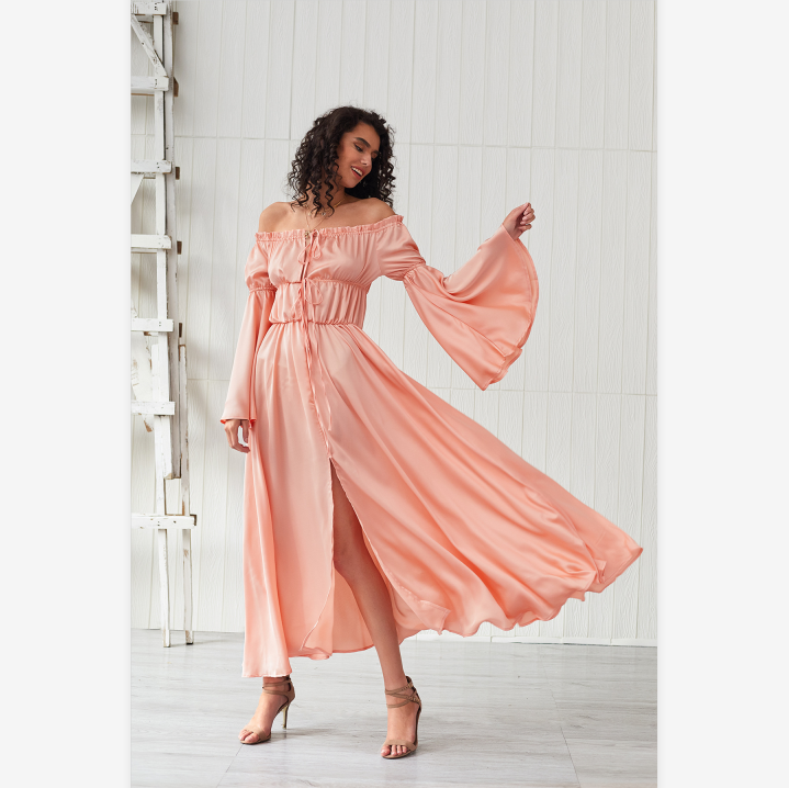 Off Shoulder Satin Drawstring Detail Flare Sleeve Dress