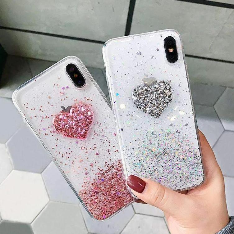 Chic Heart Print Soft Phone Case for Apple iPhone