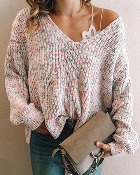 Split Hem Ribbed Knit V-Neck Sweater