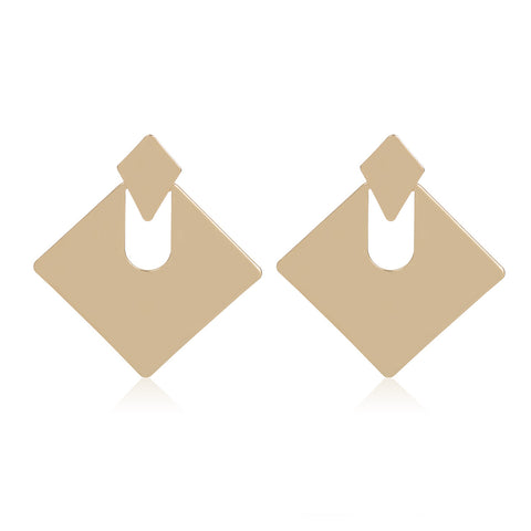 Gold Square Shape Cut Out Drop Earrings gallery 7