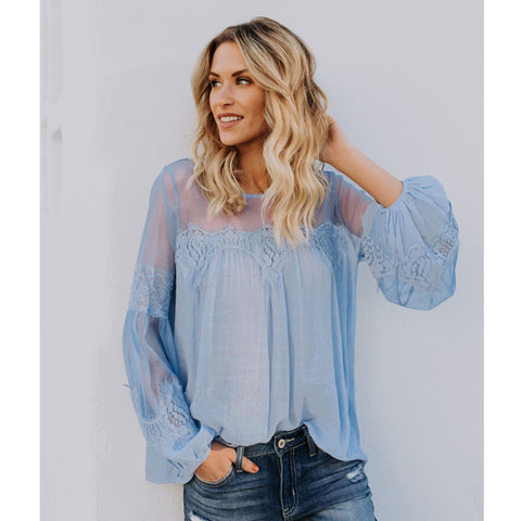 Mesh Detail Lace Puff Sleeve Top