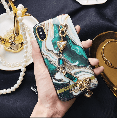 Marble Quicksand Pattern iPhone Cases With Gem Chain