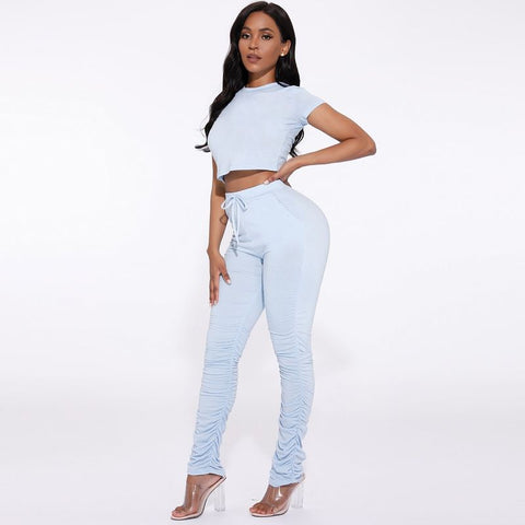 Round Neck Ruched Side Drawstring Waist Top & Pants Set gallery 2