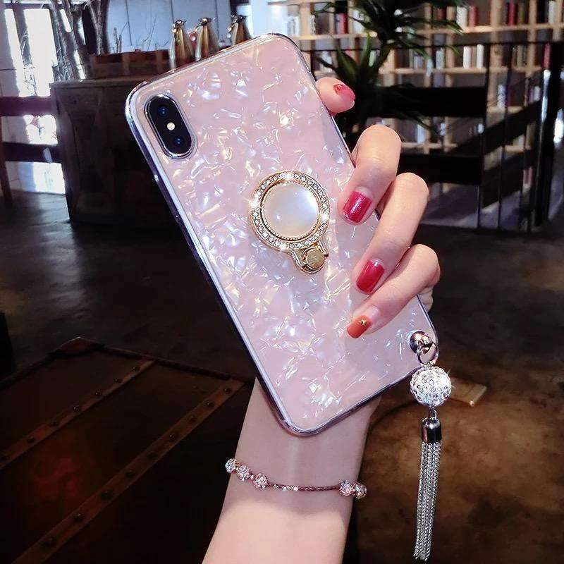 Elegant Shell Glittering Samsung Phone Case With Shining Phone Ring Holder and Strap