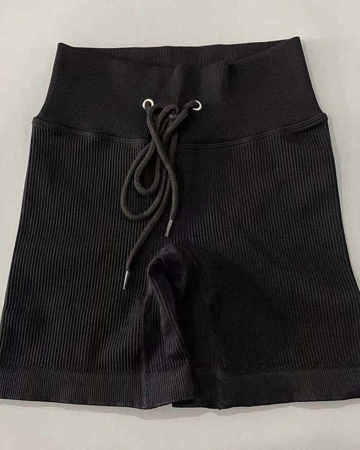 Solid High Waist Drawstring Front Sports Shorts gallery 4