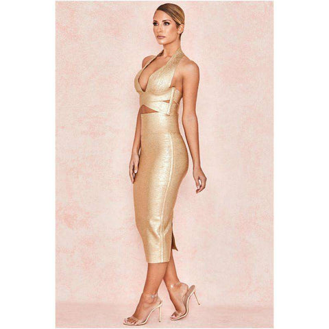 Bandage Halterneck Slinky Midi Dress Suit gallery 3