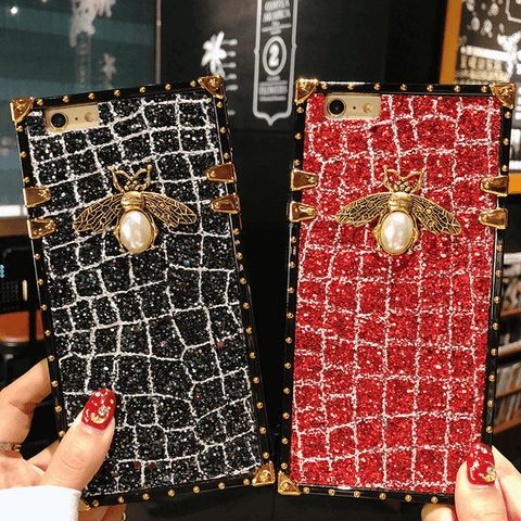 Glitter Sequins Square Phone Case for Samsung with Hand Strap